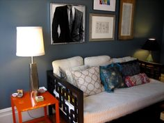 Love the wall color. Sofa, Couch, Daybed, Wall Colors, Living Rooms, Colour, Furniture, Home Decor, Lounges