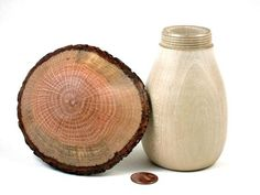 LV-3540  Holly & Red Oak Threaded Mushroom Box, Pill, Jewelry Box-JUMBO!