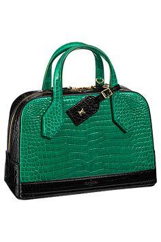 Louis Vuitton Green/Black Crocodile Dora Bag - Spring 2015