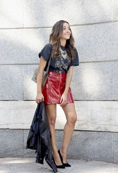www.streetstylecity.blogspot.com Fashion inspired by the people in the street patent leather skirt guns and roses shirt leather jacket heels fashion outfit style06