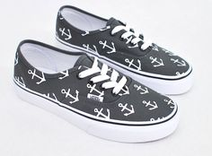 Custom Hand Painted Sailor Nautical Theme Anchor Pattern Charcoal Vans Authentic…