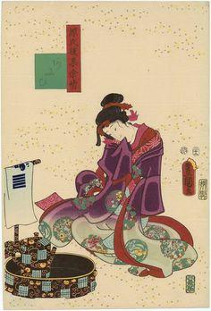 Ch. 14 [sic, actually 9], Aoi, from the series Lingering Sentiments of a Late Collection of Genji (Genji goshû yojô) [pun on The Fifty-four Chapters of the Tale of Genji (Genji gojûyojô)]  Japanese 1857 (Ansei 4), 12th month Artist Utagawa Kunisada I (Toyokuni III) (Japanese, 1786–1864