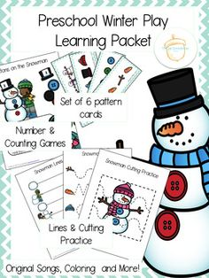 Preschool Winter Play Learning Packet featuring a snowman theme from The Lee Schoolhouse!