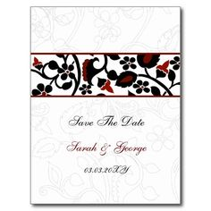 damask red save the date postcard