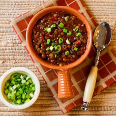 Kalyn's Kitchen®: Recipe for Vegan Lentil Chili with Roasted Red Peppers, Olives, and Green Onion