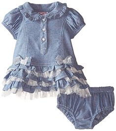 Nannette BabyGirls Newborn Chambray Dress with Jaquard Dot Rhinestone Button Detail and Panty Blue 36 Months -- Continue to the product at the image link.