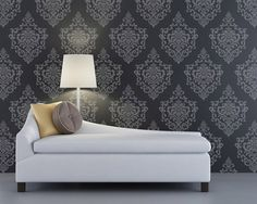 This elegant, versatile Ornamental Cartouche damask wall stencil pattern looks great stenciled as a repeating allover pattern on wall, as a random motif, and ev