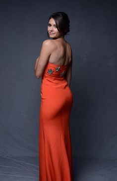 Nina Dobrev booty in an elegant long dress