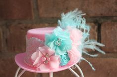 Mini Top Hat fascinator, Tea party hat, Mad hatter Top Hat, photo prop, birthday party hat, pink and aqua