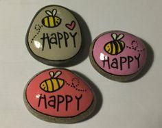 Piedras pintadas decoración de escritorio por EchidnaArtandCards