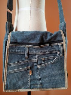 LOVE THIS IDEA Messenger Design Up cycled Recycled Denim Bag Purse: