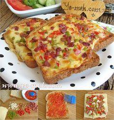 Pizza de pão de forma.