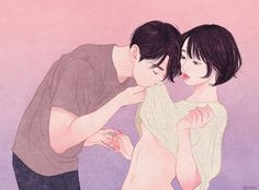 Illustrations For The Days I Wish To Wrap Myself Around You art by zipcy Illustration Art Nouveau, Couple Illustration, Couple Drawings, Art Drawings, Anime Couples, Cute Couples, Art Kawaii, Cute Couple Art, Art Watercolor