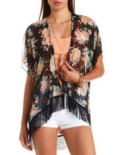 Sheer Floral Print Fringe Kimono Top: Charlotte Russe