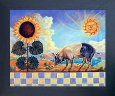 Get enchanted by the beauty of nature by getting this stunning country sunflower sun & pig art print framed poster. This contemporary style framed poster is sure to add vibrancy to the interiors of your living space and motivate you to smile like a flower. It will be a great gift for every art lovers. Its wooden espresso frame accentuates the poster mild tone. The frame is made from solid wood measuring 20x24 inches with a smooth gesso finish.