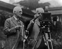 In this photo, Eastman Kodak Co. founder George Eastman, left, and Thomas Edison pose with their inventions. With Edison's invention of motion picture equipment and Kodak's invention of roll-film and the camera box, these two brilliant minds helped shape the film industry into what we know it as today.