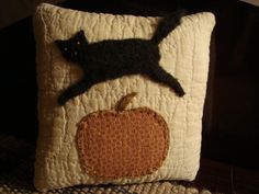 Black Cat and Pumpkin Pillow