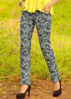 Calça Estampada Calça Jeans