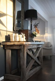 what if we did a blue/grey accent wall with this type of rustic furniture?