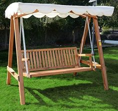 outsunny 3 seater wooden wood garden swing chair seat hammock bench furniture lounger bed fsc certificated outsunny 3 seater larch wood wooden garden swing chair seat      rh   pinterest