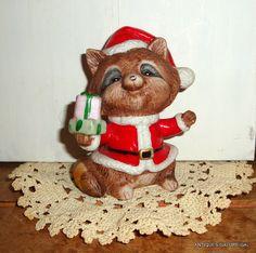 Sweet Christmas Raccoon Santa Suit Holiday Decor by VintageTinsel