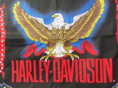 "HARLEY-DAVIDSON BANDANNA EAGLE W/STARS,HD,OUT BORDER RIBBONS,1903""AMERICAN MADE"""