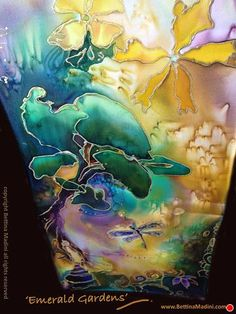 "Emerald Gardens - handpainted original Silk ""Goddess Scarf""- original painting on silk by Bettina Star-Rose ~ 52"" x 8.25"""