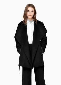 Lapels wool coat - Coats for Women | MANGO