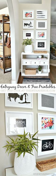 I think this entryway home decor looks fabulous. All free printables! What easy, inexpensive DIY decorating.