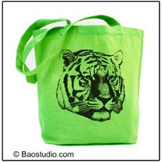 Siberian Tiger (Lime)  Pop Art Canvas Tote Bag: Everything