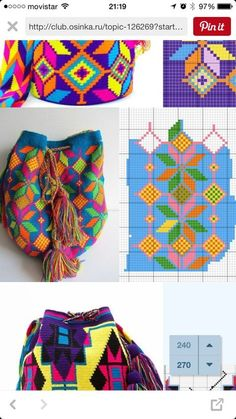 Tapestry Crochet Free Patterns: Wayuu Mochila Crochet Bags, Purses, Pillows, Tips and Free Patterns This Pin was discovered by Dot Tapestry Crochet Patterns, Knitting Patterns, Crochet Chart, Diy Crochet, Mochila Crochet, Clutch Pattern, Tapestry Bag, Crochet Purses, Knitted Bags