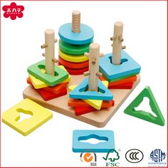 Wooden Shape Sorter Toys with Colorful Geometric Shape & 4 Cloumns for Kids