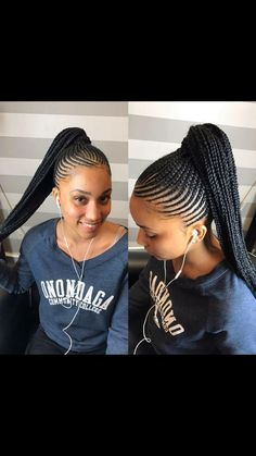 Scalp braids ponytail