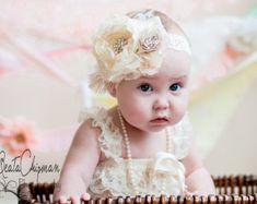 Foto Prop Baby rosa / crema ragazza fiore fascia di lepetitejardin