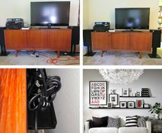 Use an IKEA RIBBA Shelf for Cord Control! {apartment therapy}