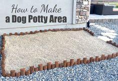 How to Make a Dog Potty Area dog house hacks Backyard Dog Area, Dog Friendly Backyard, Outdoor Dog Area, Outdoor Dog Kennel, Dog Playground, Dog Yard, Dog Run Side Yard, Dog Toilet, Dog Spaces
