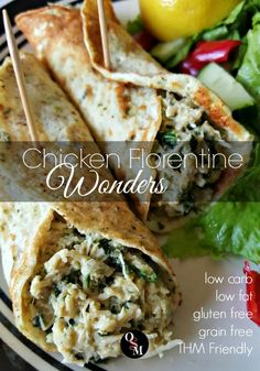 If you're a Trim Healthy Mama in a fuel rut, these low fat, low carb Chicken Florentine Wonders will pull you out. They're big on flavor and will leave you satisfied! Grain and gluten free, too. Anyone can enjoy these delicious wraps as part of their healthy eating plan.