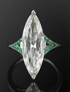 Cocktail party Ring 925 Sterling silver marquise Green Baguette Jewelry Cz Women #NIKI #Solitaire #Engagement