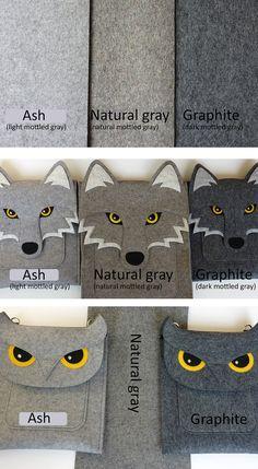 Deluxe owl gadget case - Gray felt - MADE TO ORDER. $37.00, via Etsy.