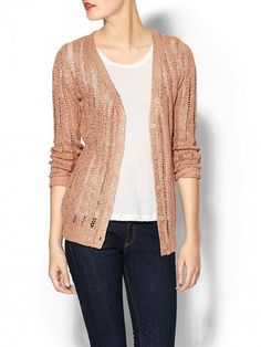 Sabine Foiled Cardigan Rose Gold Sweater and Clothing
