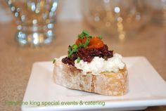 Palm Springs Caterer. Delicious Layered Bruschetta with homemade lemon ricotta, kalamata olive tapanade and roasted tomato.  Catering by: http://www.katherine-king.com