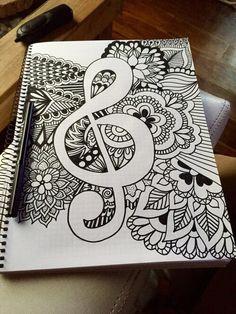 Image via We Heart It #art #blackandwhite #draw #drawing #flowers #mandala #music #fiori #música