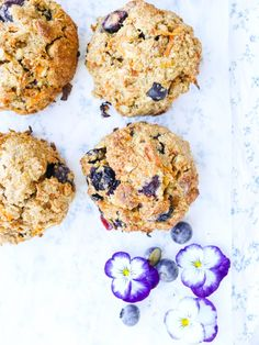 one bowl carrot & blueberry breakfast cookies - my lovely little lunch box Blueberry Breakfast, Make Ahead Breakfast, Breakfast Cookies, Breakfast Kids, Blueberry Cupcakes, Sugar Free Baking, Little Lunch, Cookies For Kids, Healthy Cake