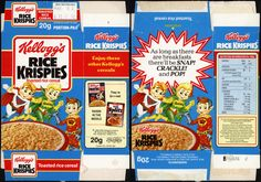 UK - Kellogg's - Rice Krispies single portion cereal box - 1991