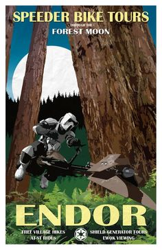 Star Wars - Endor Reiseposter - Speeder Bike Tours - 11 x 17 Star Wars Film, Star Trek, Star Wars Poster, Star Wars Wallpaper, Wallpaper Desktop, Wallpapers, Ewok, Star Wars Party, Love Stars