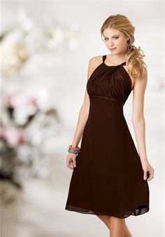 Bridesmaid dress - the brown might go nice with orange flowers