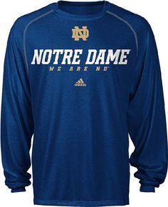 Notre Dame Fighting Irish Heather Blue Climalite Slogan Long Sleeve Shirt by Adidas $32.95