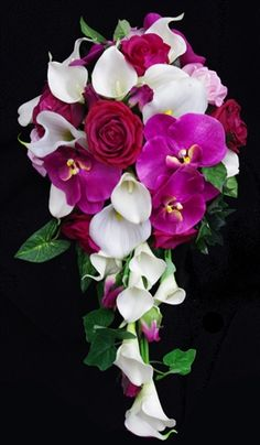 Cascading style? Natural Touch Pink Roses & Calla Lilies Cascading Bouquet