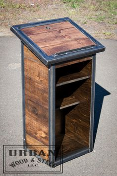 Salvaged Steel & Wood Speaker Podium The by urbanwoodandsteel