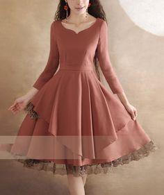 Lace Dress Pink Dress Long Sleeves Vintage Dress Black Dress Little Tea Dress Be Trendy Dresses, Women's Fashion Dresses, Elegant Dresses, Cute Dresses, Casual Dresses, Linen Dresses, Cotton Dresses, Long Sleeve Vintage Dresses, Vestidos Vintage